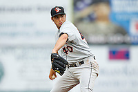 Delmarva Shorebirds starting pitcher Mark Blackmar (40) in action against the Hagerstown Suns at Municipal Stadium on April 11, 2013 in Hagerstown, Maryland.  The Shorebirds defeated the Suns 7-4 in 10 innings.  (Brian Westerholt/Four Seam Images)