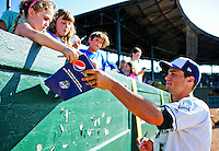 2 July 2011: Vermont Lake Monsters' infielder Sean Jamieson signs autographs prior to a game against the Tri-City ValleyCats at Centennial Field in Burlington, Vermont. The Lake Monsters rallied from a 4-2 deficit to defeat the ValletCats 7-4 in NY Penn League action. Mandatory Credit: Ed Wolfstein Photo