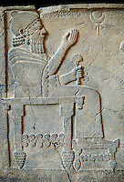 "Relief panels orthostat from northern part of the hall at the Palace of Sam 'al - Zincirli. On the throne sits the Prince Barrakib. Above his head each side of a crescent moon  are inscriptions in Aramaic ""I am Barrakib, son of Panammuwa"" and the inscription ""My Lord of the Ba 'al of Harran"" with symbols of the moon god. Neo Syro Hittite.  Basalt around 730 BC. Pergamon Museum, Berlin, inv no VA2817"