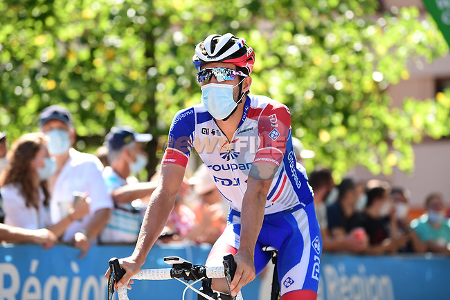 Thibaut Pinot (FRA) Groupama-FDJ at sign on before the start of Stage 4 of Criterium du Dauphine 2020, running 157km from Ugine to Megeve, France. 15th August 2020.<br /> Picture: ASO/Alex Broadway | Cyclefile<br /> All photos usage must carry mandatory copyright credit (© Cyclefile | ASO/Alex Broadway)
