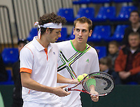 05-03-11, Tennis, Oekraine, Kharkov, Daviscup, Oekraine - Netherlands, Thiemo de Bakker/Robin