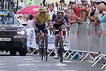 Kenny Elissonde (FRA) Trek-Segafredo and Sergio Andres Higuita (COL) EF Pro Cycling summit the Col de Peyresourde during Stage 8 of Tour de France 2020, running 141km from Cazeres-sur-Garonne to Loudenvielle, France. 5th September 2020. <br /> Picture: Colin Flockton | Cyclefile<br /> All photos usage must carry mandatory copyright credit (© Cyclefile | Colin Flockton)