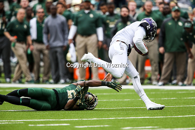 TCU Horned Frogs quarterback Trevone Boykin (2) in action during the game between the TCU Horned Frogs and the Baylor Bears at the McLane Stadium in Waco, Texas. TCU leads Baylor 31 to 27 at halftime.