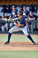 Pittsburgh Panthers first baseman Nick Banman (29) squares to bunt during a game against the North Carolina Tar Heels at Boshamer Stadium on March 17, 2018 in Chapel Hill, North Carolina. The Tar Heels defeated the Panthers 4-0. (Tony Farlow/Four Seam Images)