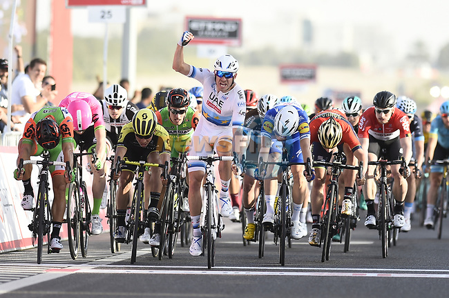 European Champion Alexander Kristoff (NOR) UAE Team Emirates wins Stage 1 of the 2018 Abu Dhabi Tour, Al Fahim Stage running 189km from Madinat Zayed to Adnoc School, Abu Dhabi, United Arab Emirates. 21st February 2018.<br /> Picture: LaPresse/Fabio Ferrari   Cyclefile<br /> <br /> <br /> All photos usage must carry mandatory copyright credit (© Cyclefile   LaPresse/Fabio Ferrari)