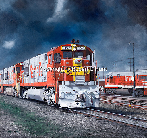 """Two Santa Fe Railroad warbonnet diesels cross paths with a Burlington unit at the BNSF Argentine Yard in Kansas City, Kansas, under threatening storm skies hanging over the midwestern plains. Oil on canvas, 22"""" x 24""""."""