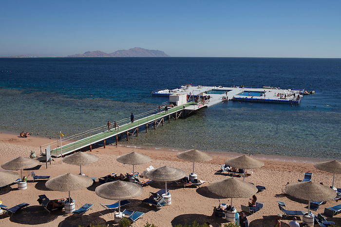Sharm el Sheikh, Sinai, January 2015. An artificial swimming pool allowing for the delicate swimmers to enjoy the sea without having to walk on rocks or to swim over corals.