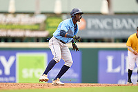 FCL Rays Alejandro Pie (64) leading off second base during a game against the FCL Pirates Gold on July 26, 2021 at LECOM Park in Bradenton, Florida. (Mike Janes/Four Seam Images)