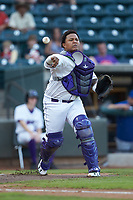 Winston-Salem Dash catcher Yermin Mercedes (6) makes a throw to first base against the Myrtle Beach Pelicans at BB&T Ballpark on August 6, 2018 in Winston-Salem, North Carolina. The Dash defeated the Pelicans 6-3. (Brian Westerholt/Four Seam Images)