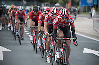 James Shaw (GBR/Lotto-Soudal trainee) leading the peloton <br /> <br /> GP Jef Scherens - Leuven 2016