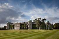 View of Goodwood House from across mown lawns