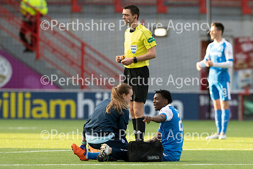 Hamilton Accies v St Johnstone…08.05.18…  New Douglas Park    SPFL<br />Physio Mel Stewart treats Matty Willock<br />Picture by Graeme Hart. <br />Copyright Perthshire Picture Agency<br />Tel: 01738 623350  Mobile: 07990 594431