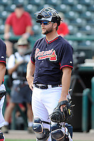 Catcher A.J. Pierzynski (15) of the Atlanta Braves works out before a Spring Training game against the New York Yankees on Wednesday, March 18, 2015, at Champion Stadium at the ESPN Wide World of Sports Complex in Lake Buena Vista, Florida. The Yankees won, 12-5. (Tom Priddy/Four Seam Images)