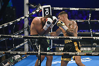 Sam Noakes (black/gold shorts) defeats Naeem Ali during a Boxing Show at the SSE Arena on 24th July 2021