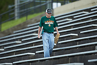 """Paul Buchanan, aka """"Uh-Huh"""" Guy, takes in the ACC baseball game between the Miami Hurricanes and the Wake Forest Demon Deacons at David F. Couch Ballpark on May 11, 2019 in  Winston-Salem, North Carolina. The Hurricanes defeated the Demon Deacons 8-4. (Brian Westerholt/Four Seam Images)"""