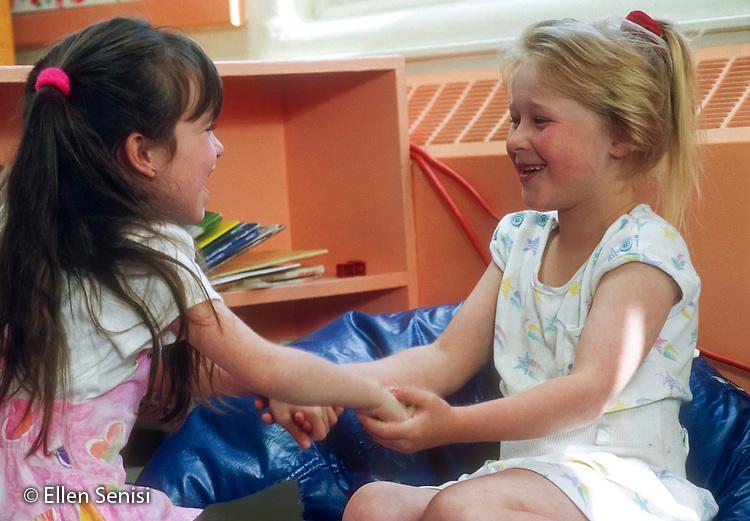 MR / Schenectady, NY. Lincoln Public Elementary School. Kindergarten. Friends (5) hold hands. MR: Hof1, Lee1. Book original from Kindergarten Kids. ID: BO-KK. © Ellen B. Senisi