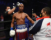 LOS ANGELES - JANUARY 30: Atif Oberlton after defeating Nathan Sharp during their fight on Fox Sports PBC fight night at the Shrine Auditorium and Expo Hall in Los Angeles, California on January 30, 2021. (Photo by Frank Micelotta/Fox Sports)