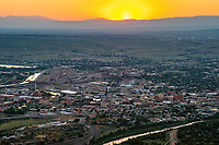 Aerial of downtown Pueblo, Colorado at sunset