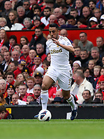 Pictured: Neil Taylor.<br /> Sunday 12 May 2013<br /> Re: Barclay's Premier League, Manchester City FC v Swansea City FC at the Old Trafford Stadium, Manchester.