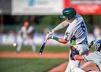 20 August 2017: Vermont Lake Monsters infielder Will Toffey, a 4th round draft pick for the Oakland Athletics, connects against the Connecticut Tigers at Centennial Field in Burlington, Vermont. The Lake Monsters rallied to edge out the Tigers 6-5 in 13 innings of NY Penn League action.  Mandatory Credit: Ed Wolfstein Photo *** RAW (NEF) Image File Available ***