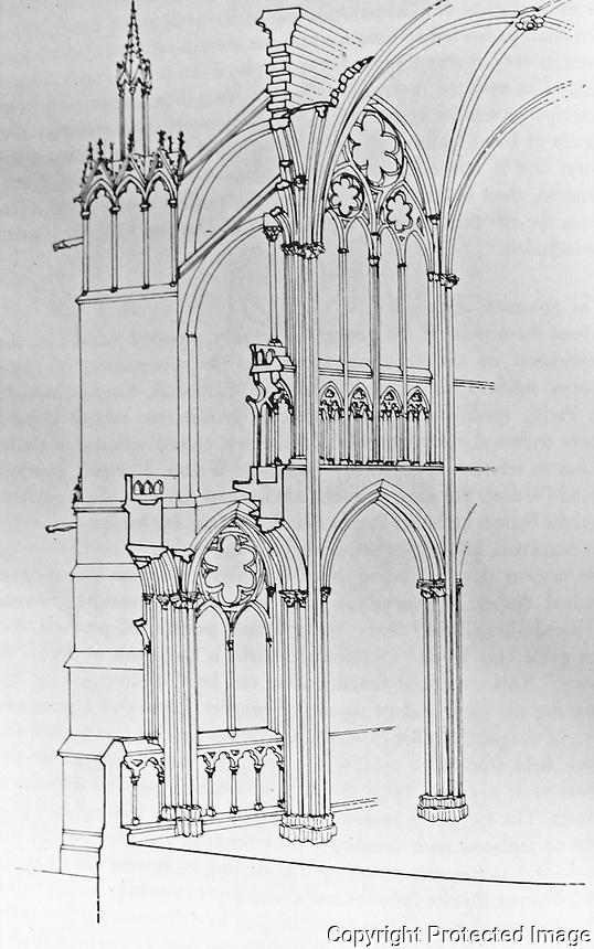 Teaching Aid: St. Denis nave structure. Viollet-le-Duc, designer