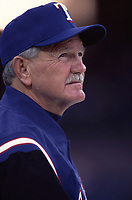 Texas Rangers coach Johnny Oates during a 2001 season MLB game at Angel Stadium in Anaheim, California. (Larry Goren/Four Seam Images)