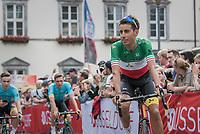 "fresh Italian champion Fabio Arru (ITA/Astana) in his first outing in the tricolore azzuri<br /> <br /> ""Le Grand Départ"" <br /> 104th Tour de France 2017 <br /> Team Presentation in Düsseldorf/Germany"