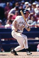 Darin Erstad of the California Angels at Anaheim Stadium in Anaheim,California during the 1996 season. (Larry Goren/Four Seam Images)