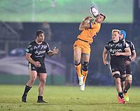 1st May 2021; Recreation Ground, Bath, Somerset, England; European Challenge Cup Rugby, Bath versus Montpellier; Handre Pollard of Montpellier tries to catch the high kick