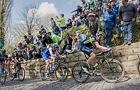 Luke Durbridge (AUS/Orica-Scott) up the infamous Muur van Geraardsbergen (1100m/7.6%) that is back in the parcours after a 5 year hiatus<br /> <br /> 101th Ronde Van Vlaanderen 2017 (1.UWT)<br /> 1day race: Antwerp › Oudenaarde - BEL (260km)