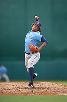 Tampa Bay Rays pitcher Jhonleider Salinas (64) delivers a pitch during an Instructional League game against the Baltimore Orioles on October 5, 2017 at Ed Smith Stadium in Sarasota, Florida.  (Mike Janes/Four Seam Images)