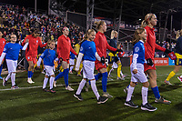COLUMBUS, OH - NOVEMBER 07: The USWNT enters the field during a game between Sweden and USWNT at Mapfre Stadium on November 07, 2019 in Columbus, Ohio.