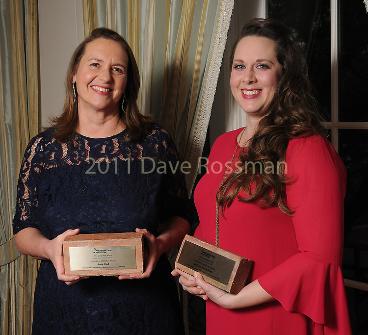 """Winners Anna Mod and Delaney Harris-Finch at Preservation Houston's """"The Cornerstone Dinner""""  presenting the 2018 Good Brick Awards at the River Oaks Country Club Friday March 02,2018. (Dave Rossman Photo)"""