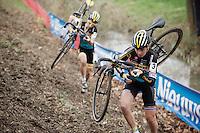 teammates Nikki Harris (GBR/Telenet-Fidea) & Jolien Verschueren (BEL/Telenet-Fidea) in pursuit of Sanne Cant<br /> <br /> Jaarmarktcross Niel 2015  Elite Women's Race