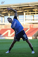 Matthew Bloomfield of Wycombe Wanderers warms up ahead of The Checkatrade Trophy match between Northampton Town and Wycombe Wanderers at Sixfields Stadium, Northampton, England on 30 August 2016. Photo by David Horn / PRiME Media Images.