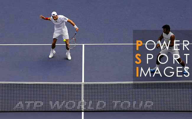SHANGHAI, CHINA - OCTOBER 17:  Jurgern Melzer (L) of Austria and Leander Paes of India in action on their doubles final against Mariusz Fyrstenberg and Marcin Matkowski of Poland during day seven of the 2010 Shanghai Rolex Masters at the Shanghai Qi Zhong Tennis Center on October 17, 2010 in Shanghai, China.  (Photo by Victor Fraile/The Power of Sport Images) *** Local Caption *** Jurgern Melzer; Leander Paes