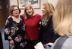 """MIDDLEBURY CT. - 30 December 2019-1230SV01-From left, retired Town Clerk Virginia """"Ginger"""" Salisbury of Southbury, congratulates Town Clerk Edith Salisbury at her retirement party with Antoinette """"Chick"""" Spinelli, Waterbury Town Clerk, during a party for her retirement in Middlebury Monday.<br /> Steven Valenti Republican-American"""