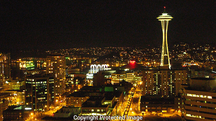 The Seattle skyline looking north from downtown to Queen Ann hill. The Space Needle is visible from almost every where in the downtown area.