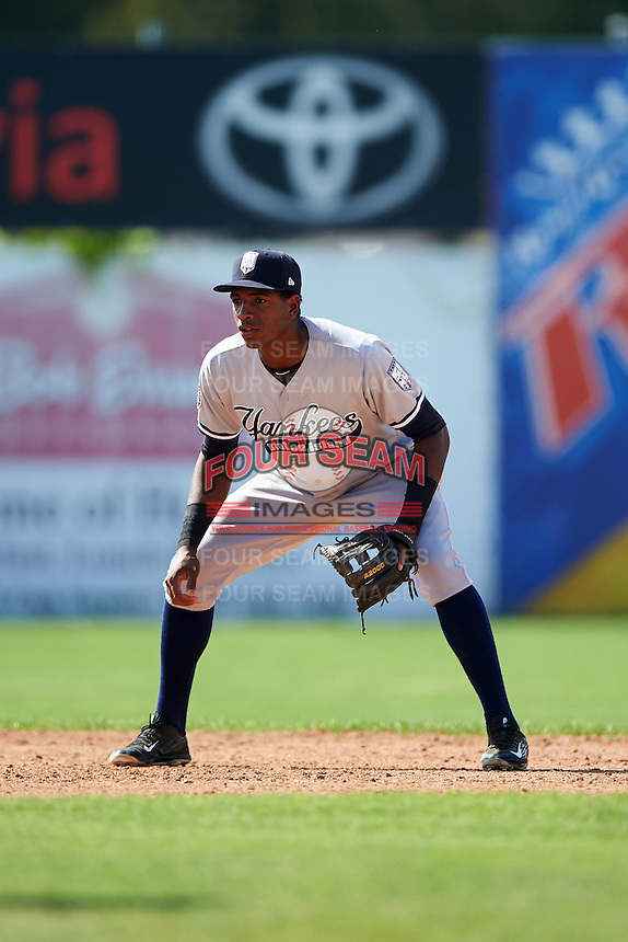 Staten Island Yankees shortstop Yancarlos Baez (66) during a game against the Batavia Muckdogs on August 28, 2016 at Dwyer Stadium in Batavia, New York.  Batavia defeated Staten Island 6-0.  (Mike Janes/Four Seam Images)