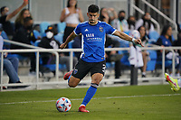 SAN JOSE, CA - AUGUST 17: Luciano Abecasis #2 of the San Jose Earthquakes during a game between Minnesota United FC and San Jose Earthquakes at PayPal Park on August 17, 2021 in San Jose, California.