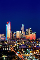 Skyline photography of the Charlotte NC downtown skyline. Photo, taken from the south side of Charlotte, is part on a regularly updated collection of Charlotte skyline imagery. This photo was taken in December 2012. Image shows the Duke Energy headquarters tower (far left) and the Bank of America tower (center) as well as other key structures in the Charlotte NC skyline.