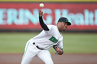 Dayton Dragons starting pitcher Hunter Greene (3) delivers a pitch to the plate against the Bowling Green Hot Rods at Fifth Third Field on June 9, 2018 in Dayton, Ohio. The Hot Rods defeated the Dragons 1-0.  (Brian Westerholt/Four Seam Images)
