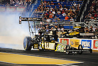 Jul, 8, 2011; Joliet, IL, USA: NHRA top fuel dragster driver Tony Schumacher during qualifying for the Route 66 Nationals at Route 66 Raceway. Mandatory Credit: Mark J. Rebilas-