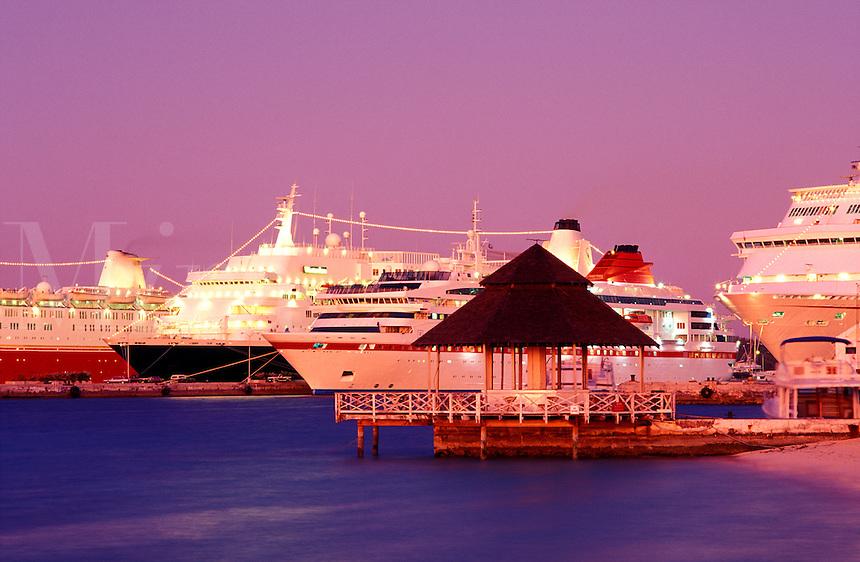 Bahamas,Nassau. Cruise ships in port at dusk