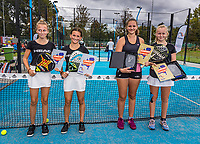 Netherlands, September 6,  2020, Amsterdam, Padel Dam, NK Padel, National  Junior Padel Championships under 14 years:  Runners up Noa van den Berg (NED)  and Fleur Bogaart (NED) (L) and winners  Britt du Pree (NED) and<br /> Fen Rauwerdink (NED)<br /> Photo: Henk Koster/tennisimages.com