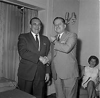 Des deputes de l'Union Yves Gabias et Daniel Johnson , sr, le 19 aout 1964, dans la ville de Quebec.<br /> <br /> PHOTO : Agence Quebec Presse  - Photo Moderne