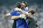 Juventus' Gianluigi Buffon (r) and Alvaro Morata celebrate the victory in the Champions League 2014/2015 Semi-finals.May 13,2015. (ALTERPHOTOS/Acero)
