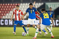 8th June 2021; Defensores del Chaco Stadium, Asuncion, Paraguay; World Cup football 2022 qualifiers; Paraguay versus Brazil;   Miguel Almirón of Paraguay s Casemiro of Brazil moves awway on the ball