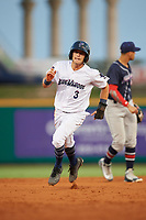 Pensacola Blue Wahoos Shrimp left fielder TJ Friedl (3) runs the bases during a game against the Jacksonville Jumbo on August 15, 2018 at Blue Wahoos Stadium in Pensacola, Florida.  Jacksonville defeated Pensacola 9-2.  (Mike Janes/Four Seam Images)