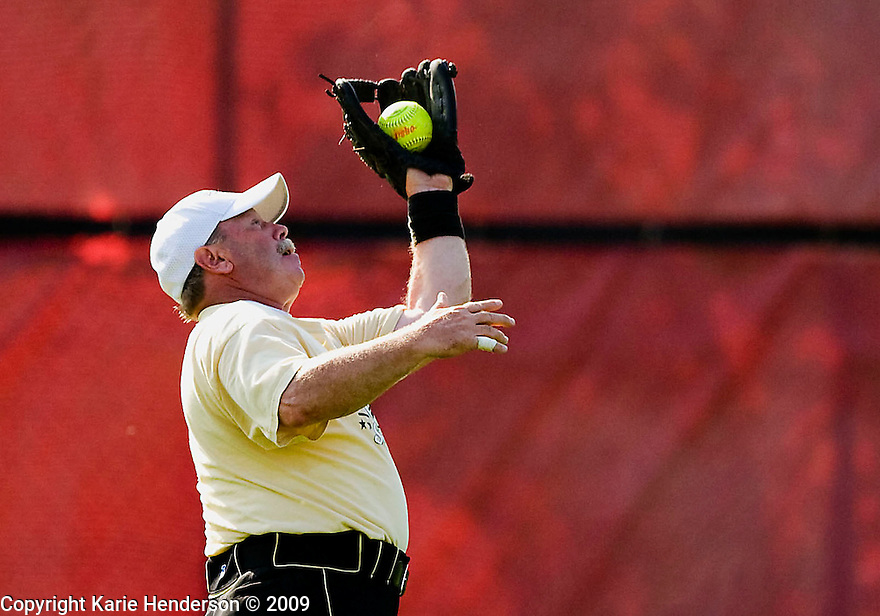 David Hanna of the Rhode Island men's 55+ softball team Rally Time, catches a fly ball against the Sports Deck during the Senior Games 2009, at Twin Creeks Sports Complex, in Sunnyvale, Calif., on Monday, August 10, 2009.